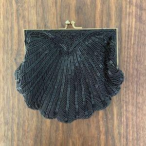 1950's Vintage Black Beaded Seashell Purse